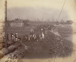 Subsidiary dam, Nicol Basin [Victoria Dock construction, Bombay].